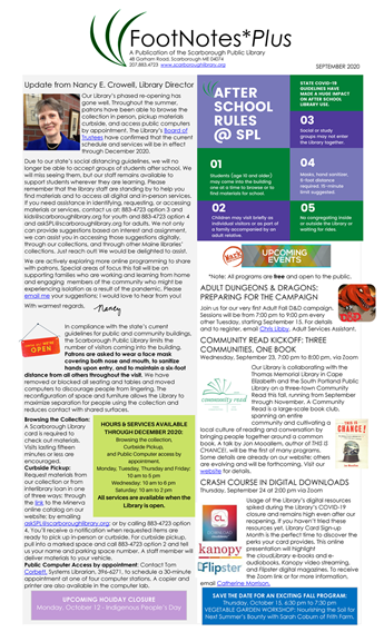 Cover of the latest FootNotesPlus newsletter