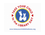 Take you chld to the library day logo